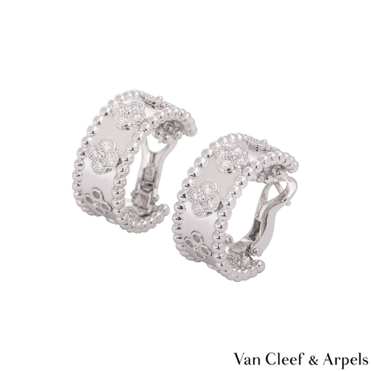 Van Cleef & Arpels White Gold Perlée Clovers Earrings VCARO2ML00
